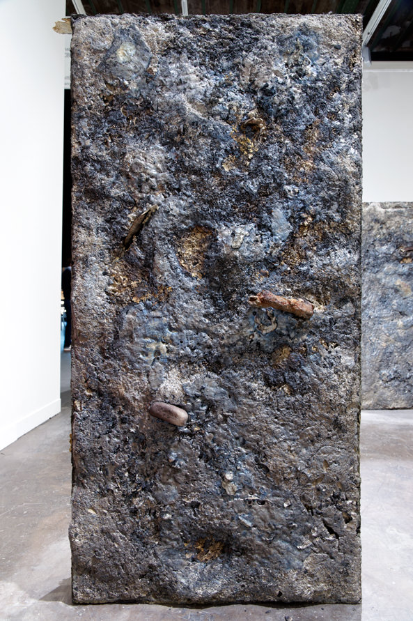 Sand Rise West, brass, sand,  165 x 80 x 20 cm and 170 x 93 x 23 cm, 2011